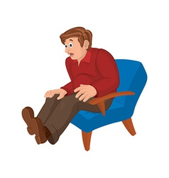 Cartoon man in red top and brown pants sitting in vector