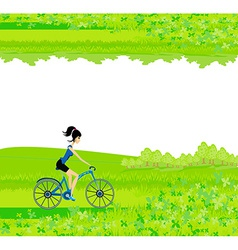 Cycling poster with silhouette girl - abstract vector