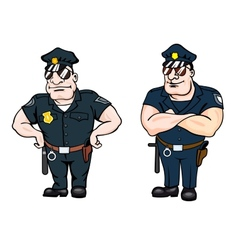 Two large beefy determined police officers vector
