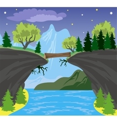 Beauty landscape with lake and mountain background vector