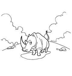 Rhinoceros cartoon coloring pages vector