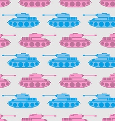 Toy tank seamless pattern blue and pink military vector