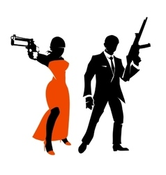 Silhouettes of spy couple characters vector