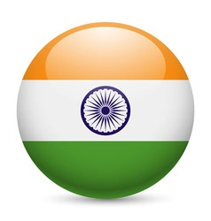 Round glossy icon of india vector image