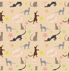 Cute funny seamless pattern with cats and flower vector