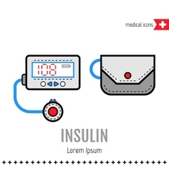 Insulin pump equipment for diabetics medical vector