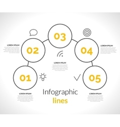 Infographic with circles pointers 5 steps vector