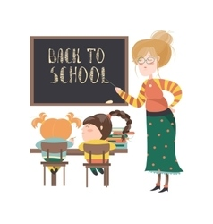 Teacher by blackboard with pupils vector