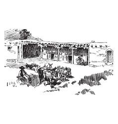 A santa fe house vintage vector