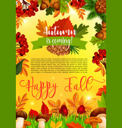 autumn and fall season banner template with leaf vector image