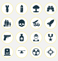 Battle icons set collection of dangerous cranium vector