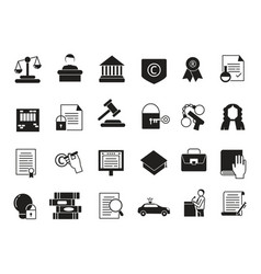 business icons set in monochrome style law and vector image