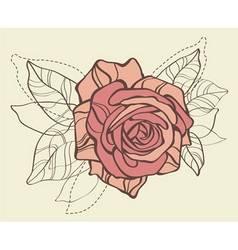 card with vector stylized rose vector image vector image