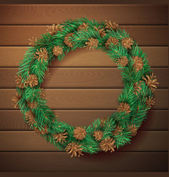 Christmas square wooden background with pine vector