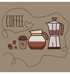 coffee line icon art cup bean jug jar grinder vector image