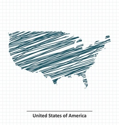 Doodle sketch of United States of America map vector image