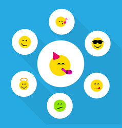 Flat icon emoji set of descant angel party time vector