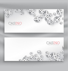 Floating casino dice banners set vector