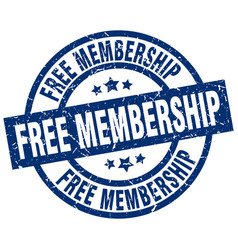 Free membership blue round grunge stamp vector