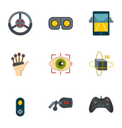 Futuristic reality icons set flat style vector