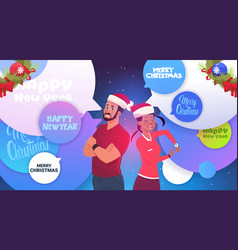 Happy couple wearing santa hats over abstract chay vector