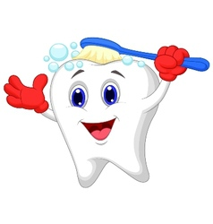 Happy tooth cartoon brushing vector