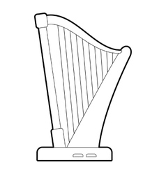 Harp icon outline style vector