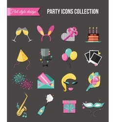 Holiday and party icons set with colorful balloons vector image vector image
