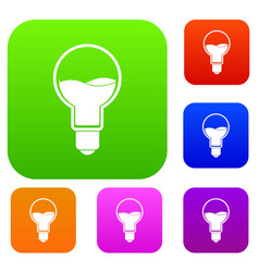 light bulb with blue water inside set color vector image vector image