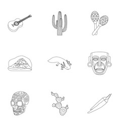 Mexico country set icons in outline style big vector