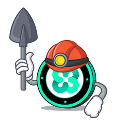 Miner ethos coin mascot cartoon vector