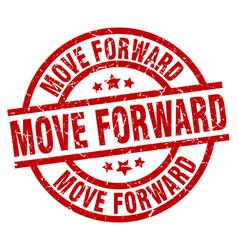 Move forward round red grunge stamp vector