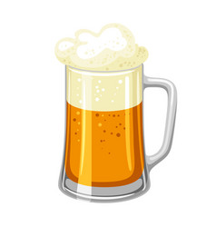 mug with light beer and froth for vector image vector image