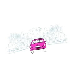 Pink car on the city road for your design vector image
