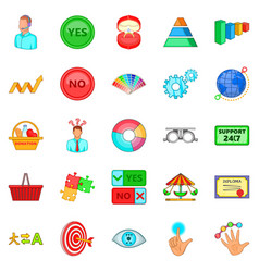 Responsiveness icons set cartoon style vector