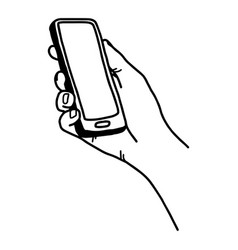 right hand holding smartphone vector image