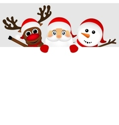 Santa claus with snowman and reindeer peeking out vector