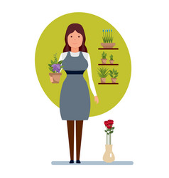 seller in flower shop holds in hands pot flower vector image vector image