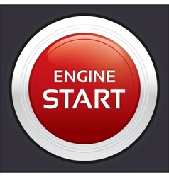 Start engine button Red round sticker vector image