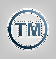 Trade mark sign blue icon with outline vector