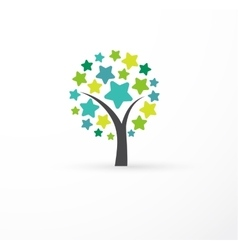 Tree with stars - education learning icon vector image vector image
