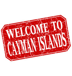 Welcome to cayman islands red square grunge stamp vector