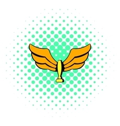 Wings trophy icon comics style vector