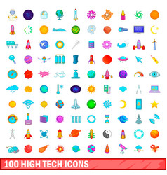 100 high tech icons set cartoon style vector
