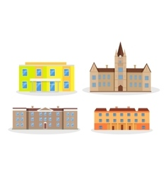 Set of buildings kindergarten school college vector