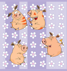 Background with pigs seamless pattern vector