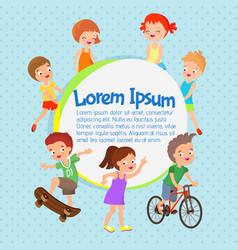 cartoon kids poster fun children vector image