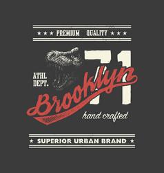 Vintage urban typography with tyrannosaurus head vector