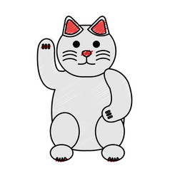 Japanese cat luck icon vector