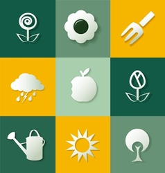 Set of gardening flat icons vector
